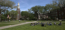 Students at an outdoor class on the East Quad.