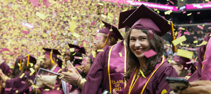 1<p>School spirit was in the air when confetti—colored gold and maroon, the traditional Brooklyn College colors—came raining down on the newly graduated students.</p>